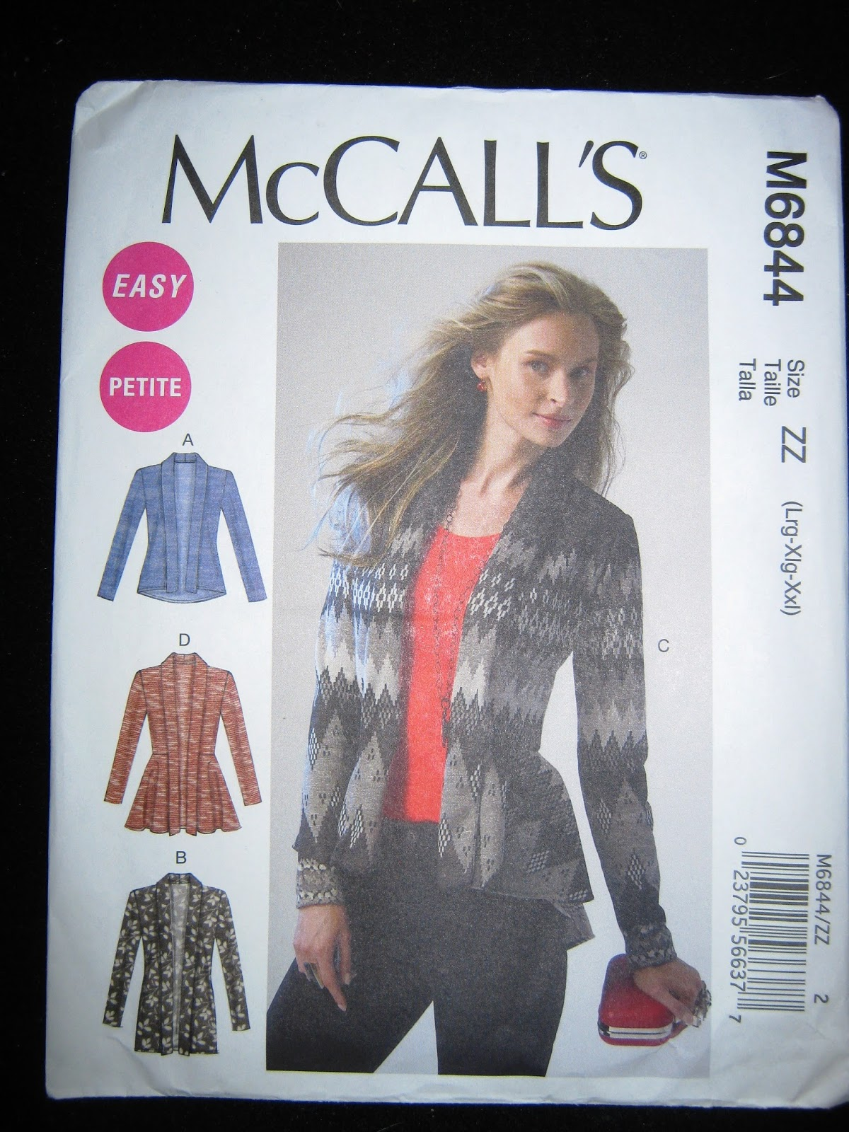 Sew Plus: McCall 6844 Cardigan-Coral Stripe Version