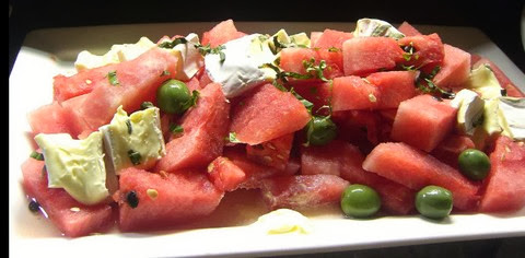 Watermelon Salad with Brie Cheese and Olives