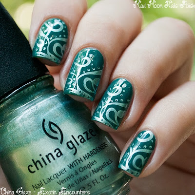 Stamping nail art: China Glaze - Exotic Encounters + China Glaze Metallic Muse + stamping plate M64