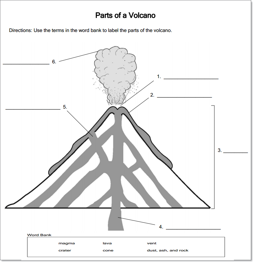 volcanoes for kids worksheets volcano worksheets