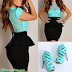 Stylish Lapel Splicing Lace Ruffled and Color Block Design Dress For Women