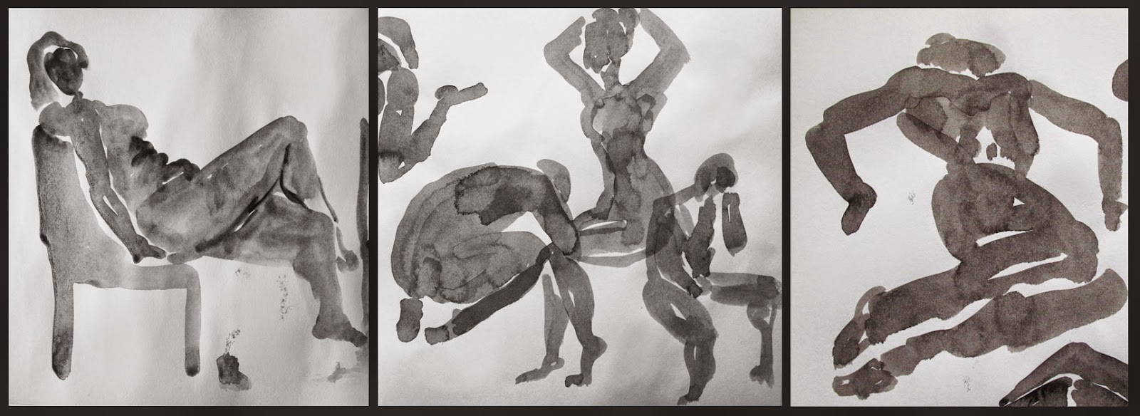 Ink and sepia one minute sketches of nude models