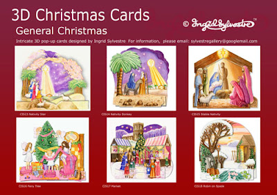 3D pop up Christmas cards by UK Artist Ingrid Sylvestre 6 Designs General Christmas