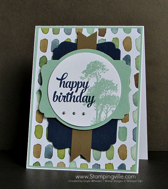 Masculine birthday card with Serene Silhouettes and Tin of Cards stamp sets by Stampin' Up!