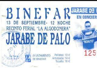 entrada concierto binefar Jarabe de Palo