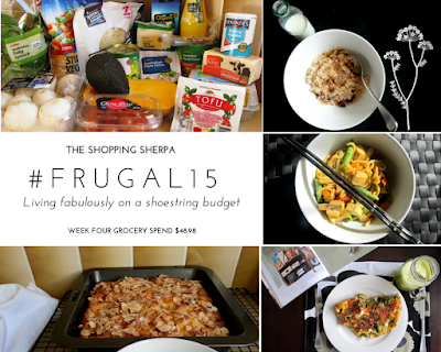 Mosaic of images showing a selection of groceries, three meals and a peach danish. The meals are craisin porridge, stir fry noodles and vegetable frittata.