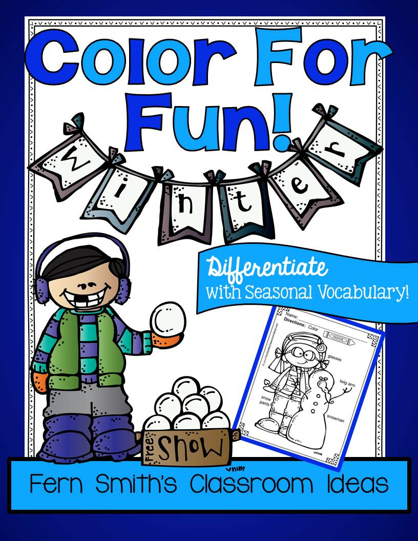 Fern Smith's Classroom Ideas Winter Fun with Seasonal Vocabulary! Color For Fun Printable Coloring Pages
