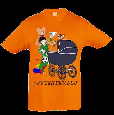 """Camiseta manga corta para niños """"Superhermano"""" color naranja"""