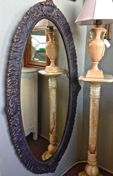Painted antique mirror with beautiful detail.