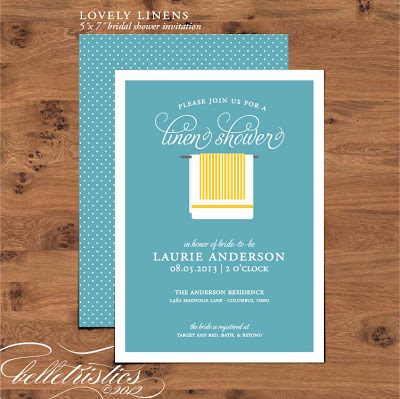 linen towel bridal wedding shower invite printable diy