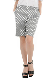 http://www.eshakti.com/shop/Pants/Polka-dot-stretch-cotton-blend-bermuda-shorts-CL0035994