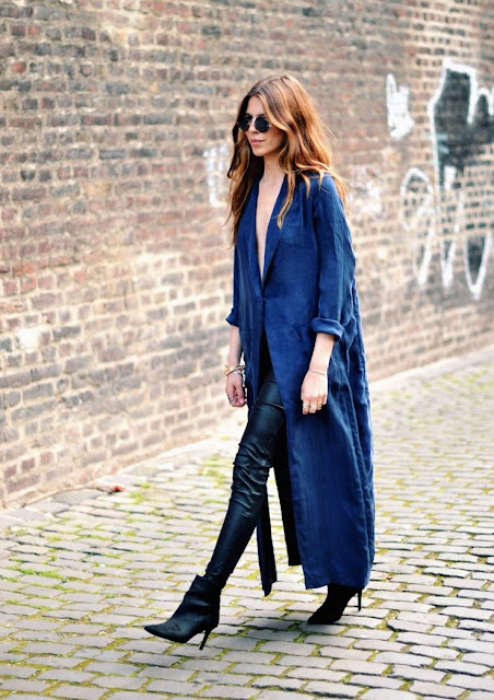 Moda 2015 Denim trench-coat, casaco comprido de ganga, trench-coat de ganga