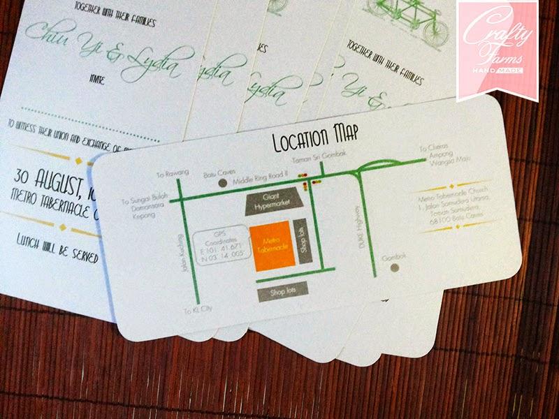 Simple Tandem Bicycle Church Wedding Invitation Card Design