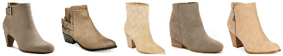 Sam & Libby Marley Booties $44.99  Madden Girl Hunttz Ankle Booties $59.99 (regular $69.00)  Enzo Angiolini Get Up Booties $64.99 (regular $130.00)  Pelle Moda Gal Booties $77.50 (regular $155.00)  Style&co Jamila Zip Booties $79.50
