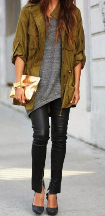 Green jacket gray tee wiht leather pants