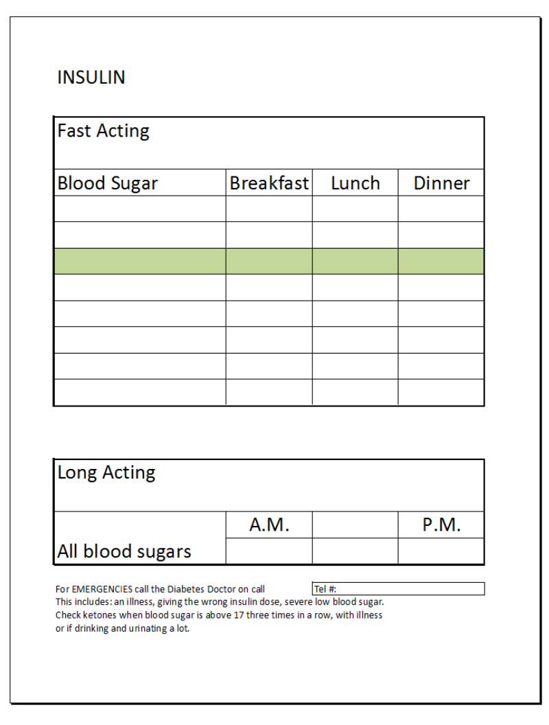 Order free diabetes logbook excel