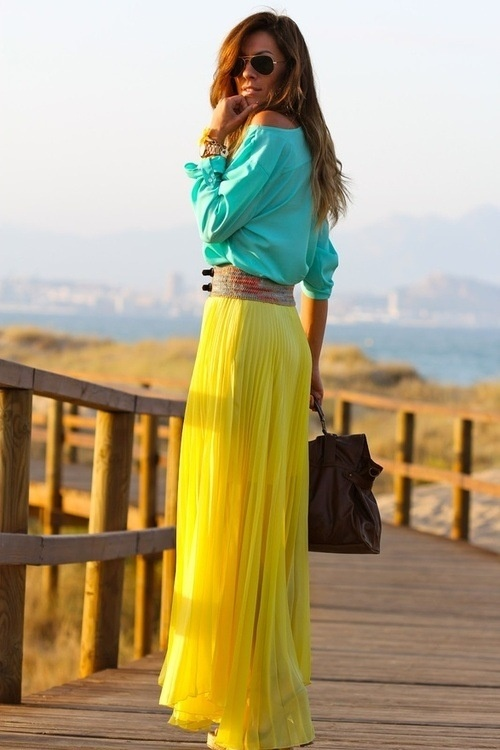 Summer fashion, bright yellow maxi dress for ladies