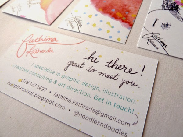 Business card design for Durban freelance illustrator and graphic designer, Fathima Kathrada at Happiness is...