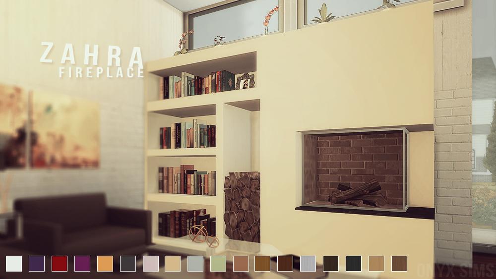 Zahra Fireplace Set - Onyx Sims