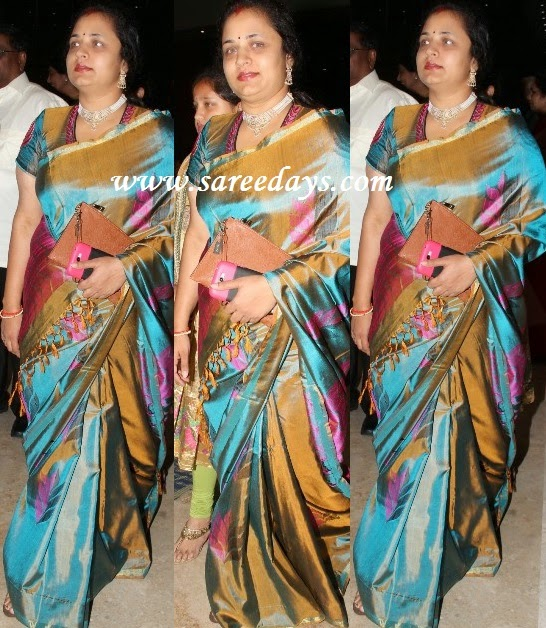 Latest saree designs ooha in traditional silk saree checkout srikanth wife ooha in traditional silk saree with zari border and paired with matching blouse altavistaventures Image collections