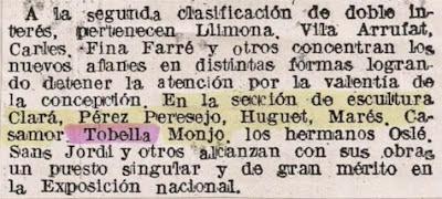 Recorte de La Vanguardia de 12 de noviembre de 1941 sobre Manuel Tobella