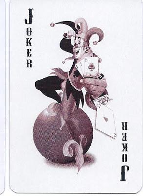 playing card joker on a yoga ball