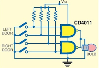 CD4011 circuit Door open indicator circuit