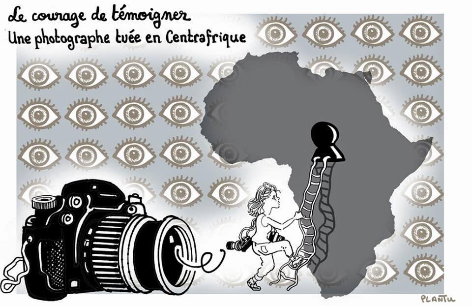 Le Monde ricorda Camille Lepage nel giorno del suo funerale, con questa vignetta.