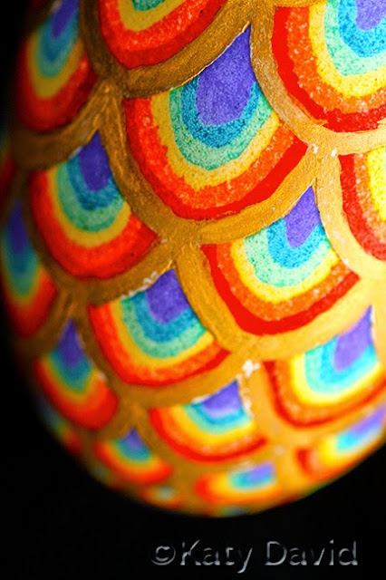 ©Katy David, Friday Egg: Second Hand Rainbows, Goose Egg Pysanky and 23K Gold
