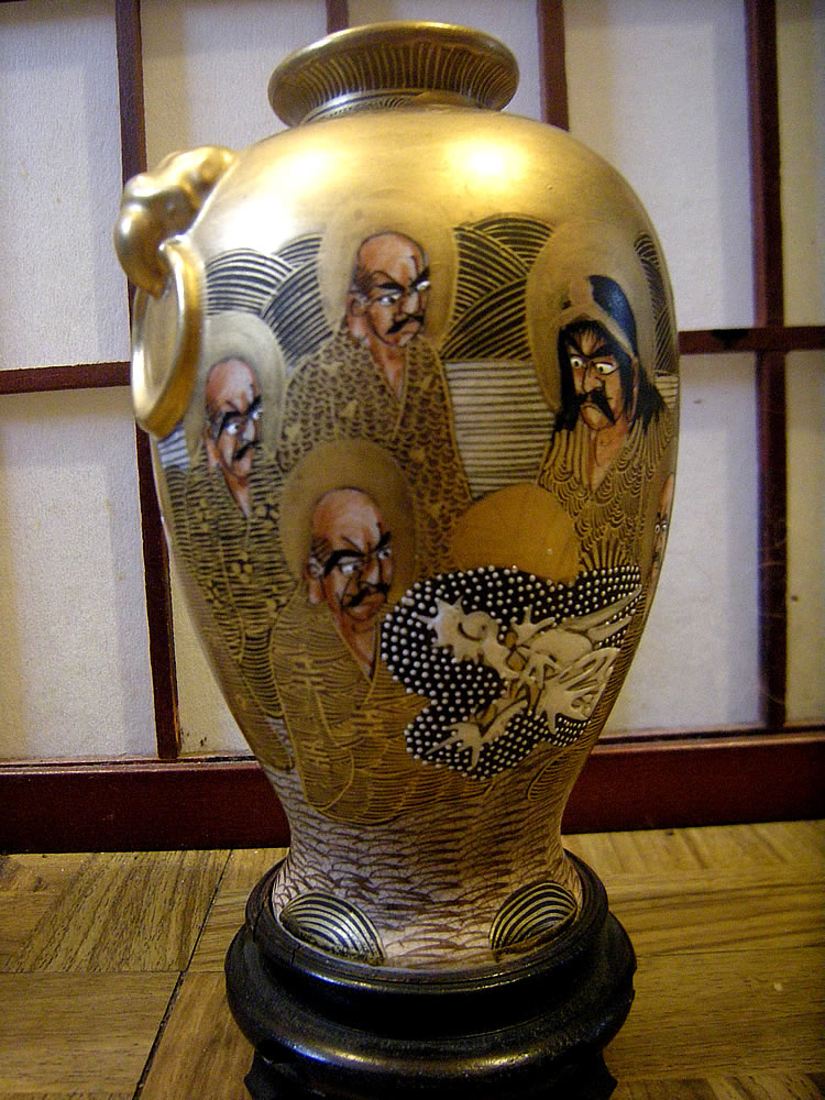 Late Meiji Thousand Faces Satsuma Vase Signed Hotoda