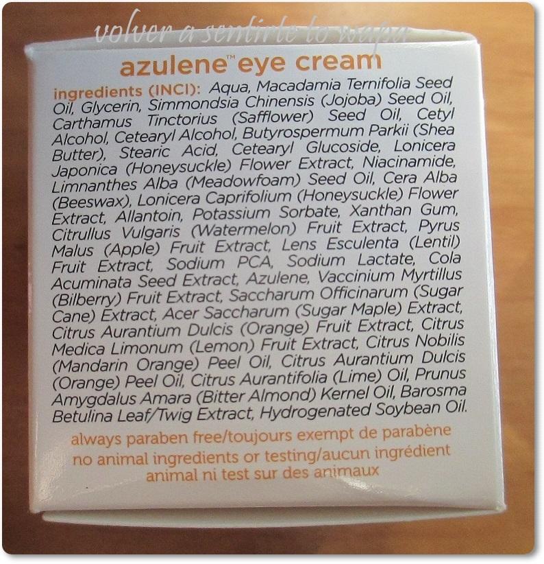 Contorno de ojos de Azuleno de iHerb - ingredientes