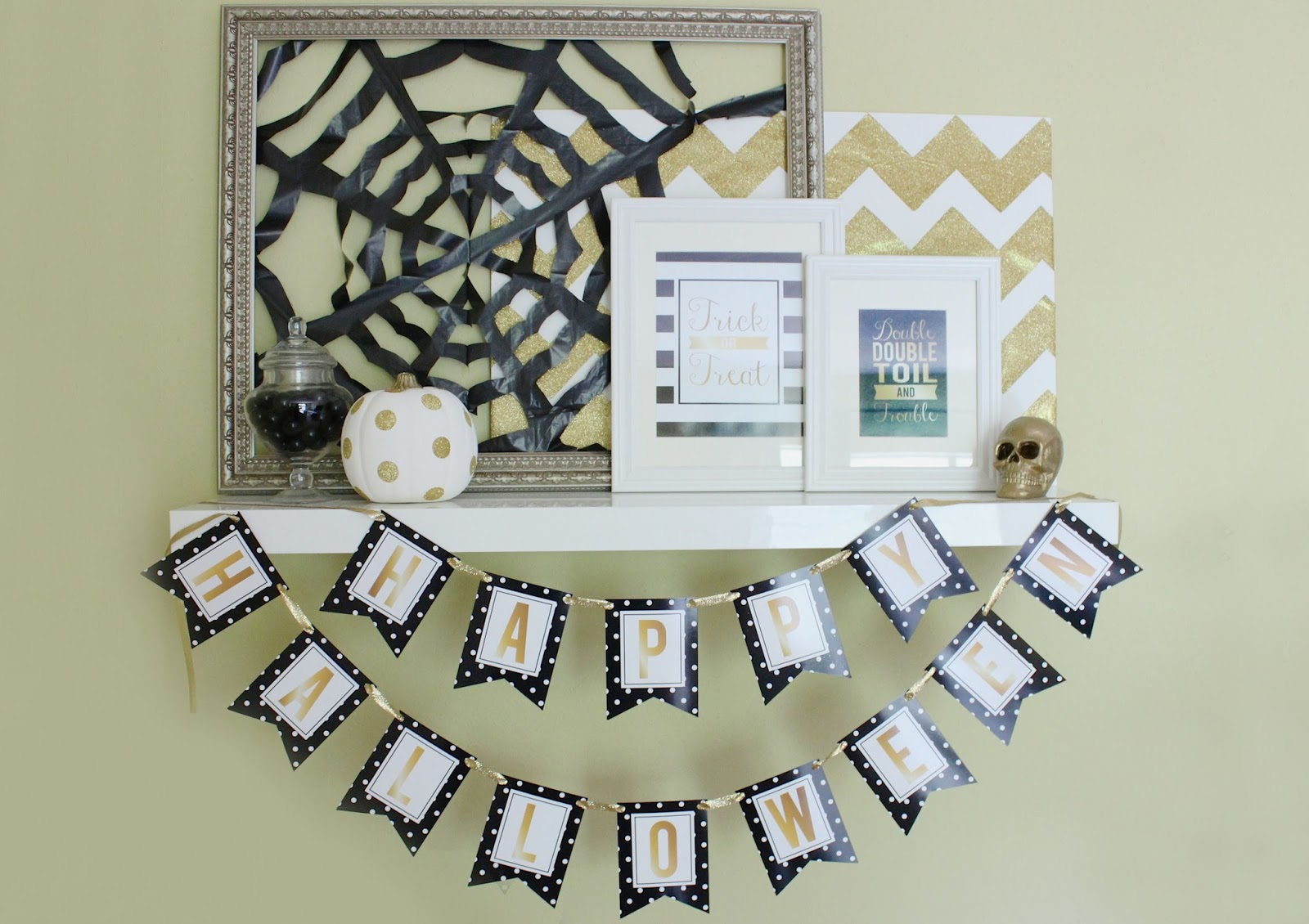 Gold, White, and Black Halloween Mantle
