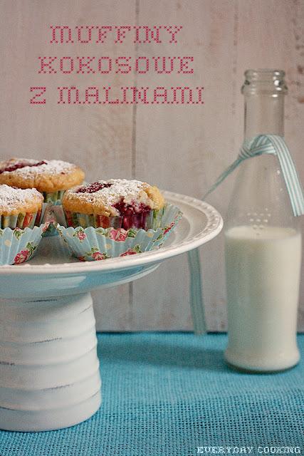 Kokosowe muffiny z malinami