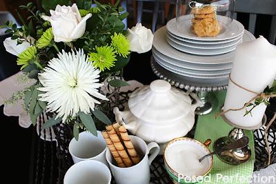 Green & White Kitchen Table Vignette