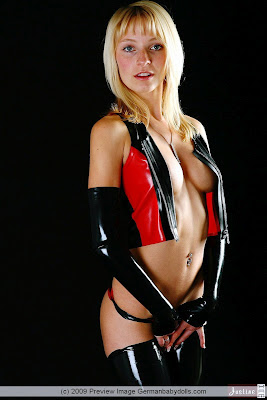 Blonde Teen Justine in Sexy Shiny PVC