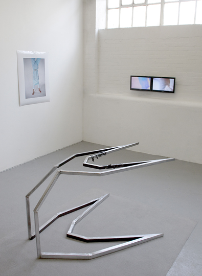 Erwin Wurm (print, courtesy of Thaddaeus Ropac Salzburg), Konrad Wyrebek (metal sculpture), Matthew Miles (two screen video)