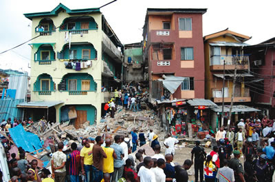 collapsed building