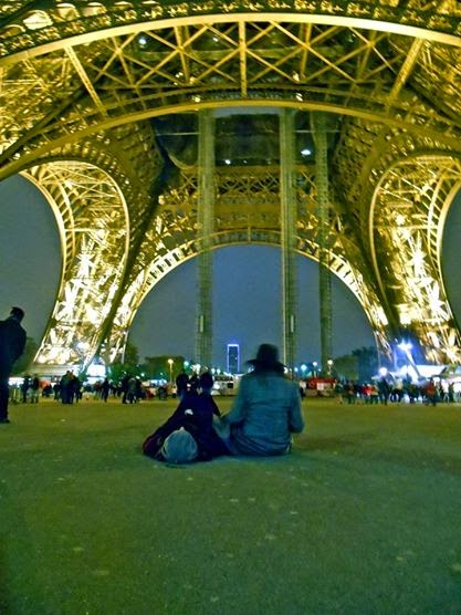 Sitting under the Eiffel Tower