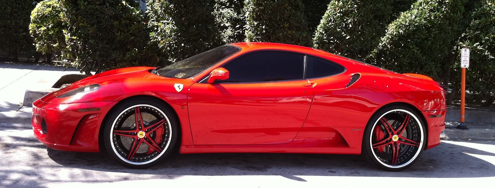 Red Ferrari F430 In Midtown Miami With Red And Black Custom Rims