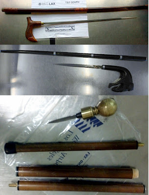 Sword Canes Discovered at (Top to   Bottom) LAX, LGB, LAX