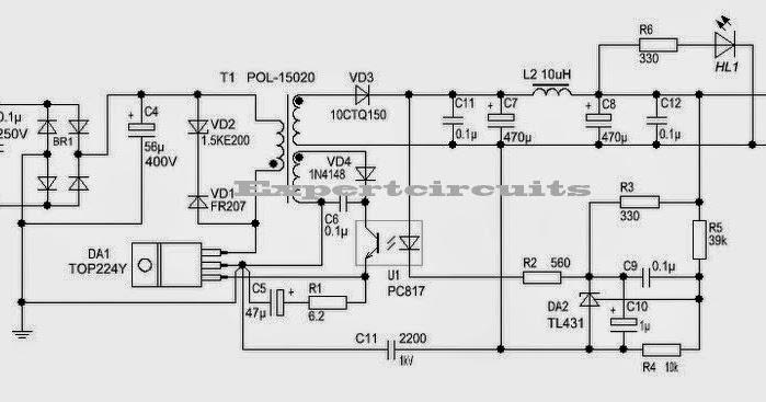 Secret Diagram  12 Volt 2 A Switching Power Supply Circuit