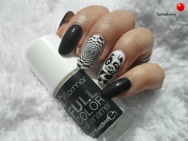 manichiura cu oja alba si oja neagra nail art