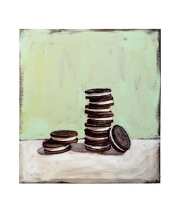 oreo painting, junk food art by Jeanne vadeboncoeur, original gouache painting