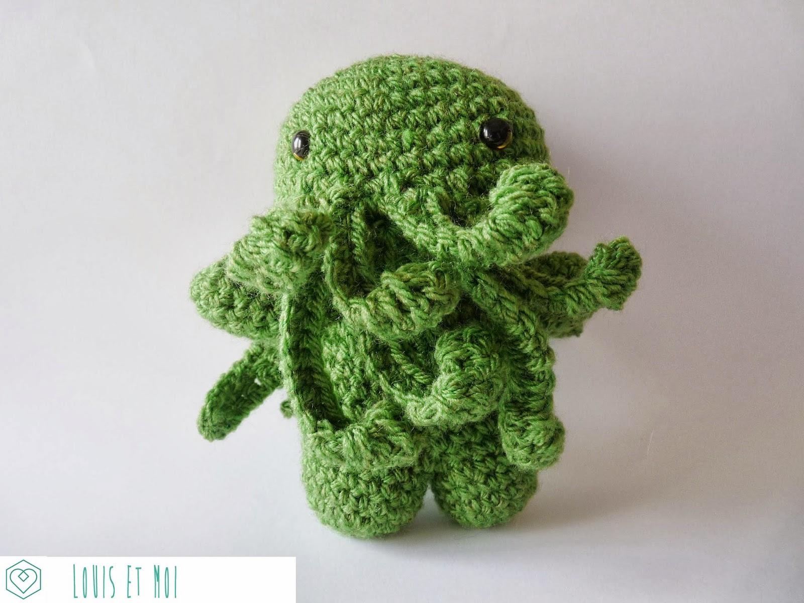 Louis et Moi (cosen y hacen crochet): Un Cthulhu de amigurumi