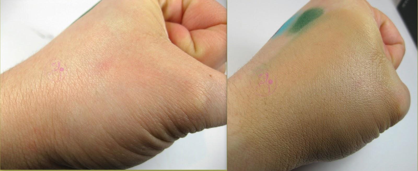 Labo Make-Up - Fashion Treatment BB Cream n° 012 - Beige - swatches a sinistra senza BB Cream - a destra con BB Cream