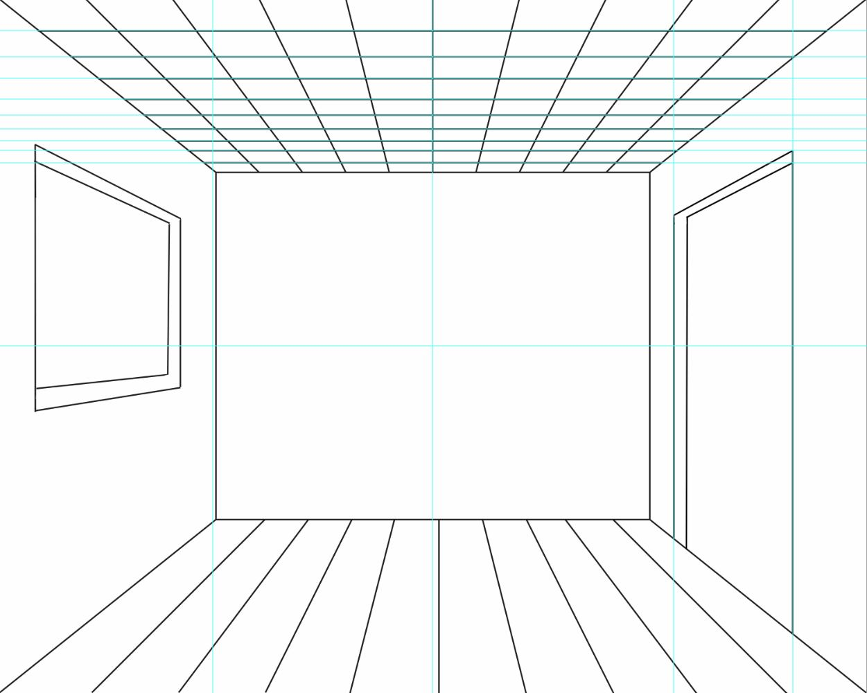 My Quite Swell Blog: One Point Perspective Room: W/ Door&Window