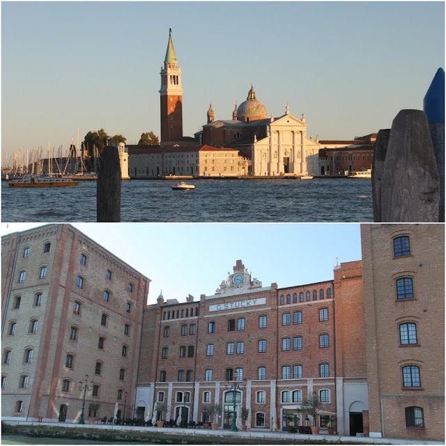 The view of San Giorgio in front of St Mark Square in Venice, Italy on the top picture
