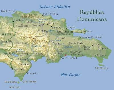 Mapa geográfico, República Dominicana