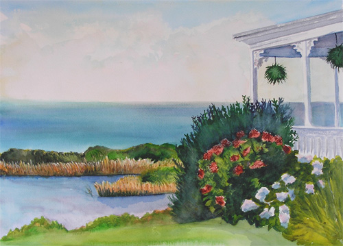 Spring House, Block Island, View Watercolor Painting