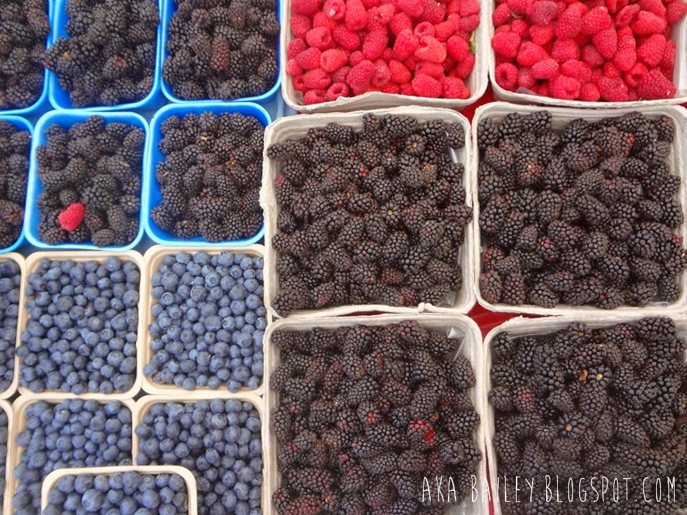 Mixed berries from the Kitsilano Farmers Market in Vancouver